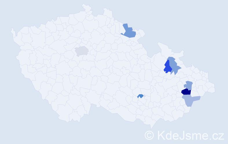 Příjmení: 'Kormaňáková', počet výskytů 14 v celé ČR