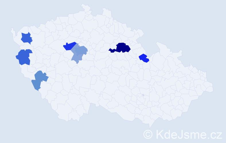 Příjmení: 'Kovařovic', počet výskytů 23 v celé ČR