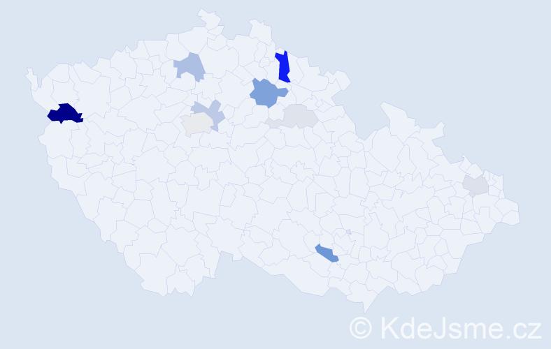 Příjmení: 'Kahún', počet výskytů 25 v celé ČR