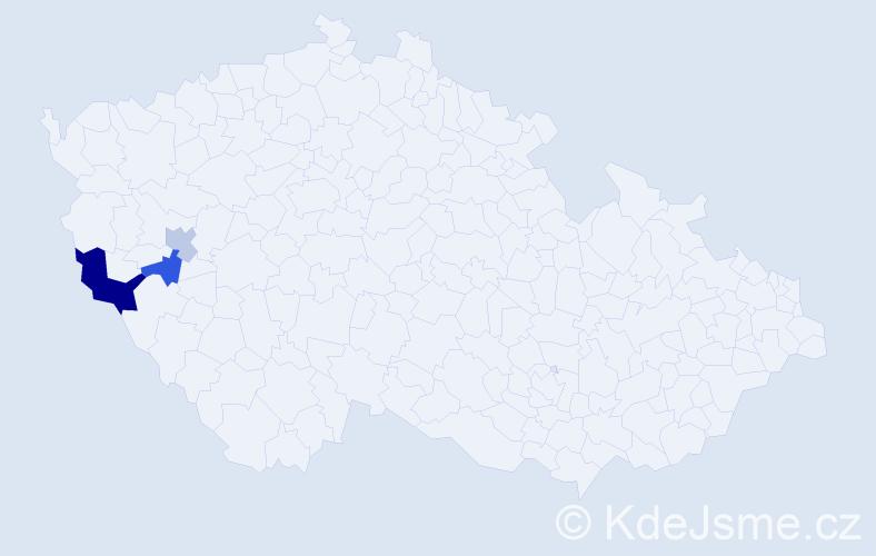 Příjmení: 'Hafičová', počet výskytů 5 v celé ČR