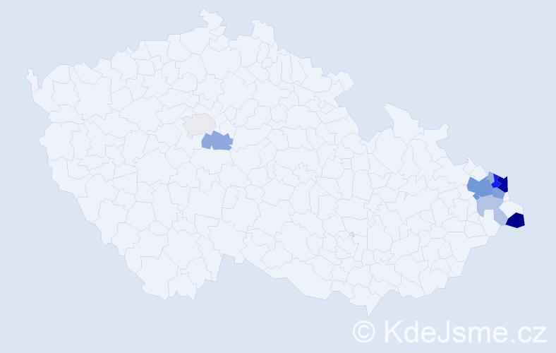 Příjmení: 'Gavlovský', počet výskytů 45 v celé ČR