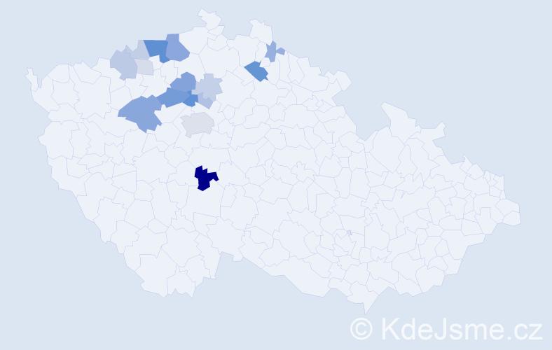 Příjmení: 'Kokšal', počet výskytů 45 v celé ČR