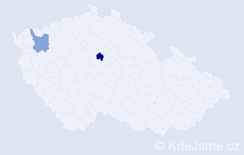 Příjmení: 'Holovačková', počet výskytů 6 v celé ČR