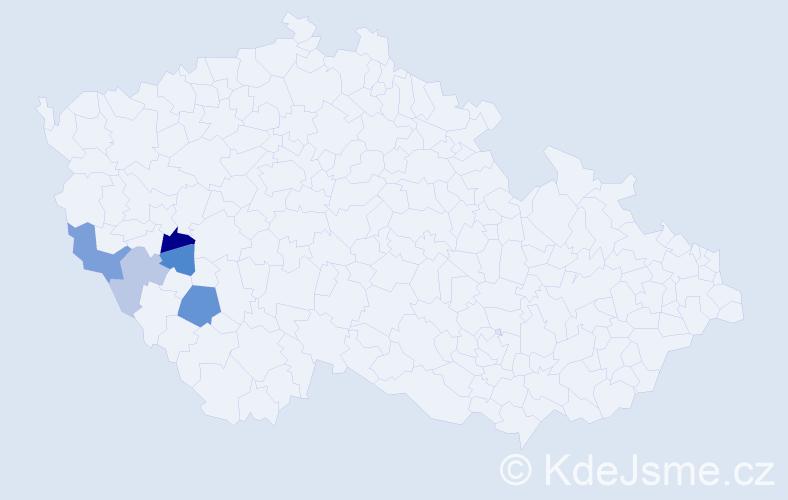 Příjmení: 'Čínovec', počet výskytů 9 v celé ČR