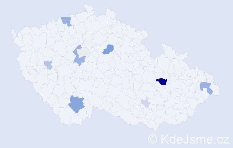 Příjmení: 'Dean', počet výskytů 18 v celé ČR