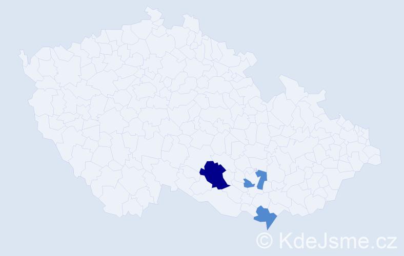 Příjmení: 'Čordášová', počet výskytů 9 v celé ČR
