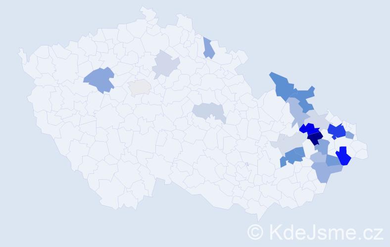Příjmení: 'Jurošek', počet výskytů 63 v celé ČR