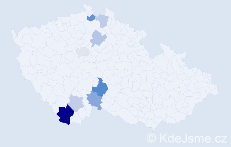 Příjmení: 'Cajzová', počet výskytů 13 v celé ČR