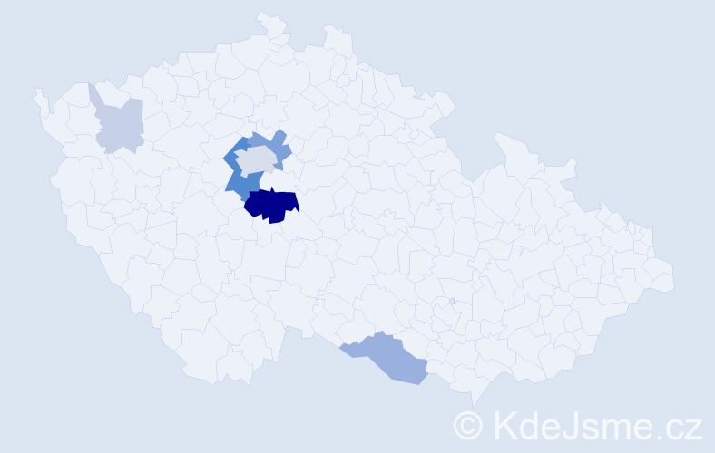 Příjmení: 'Dalibába', počet výskytů 25 v celé ČR