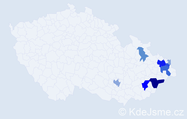 Příjmení: 'Cundová', počet výskytů 28 v celé ČR
