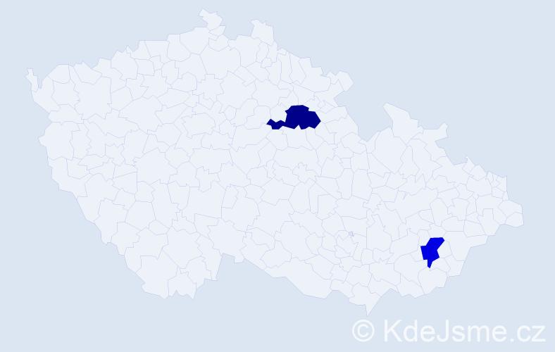 Příjmení: 'Haraburda', počet výskytů 5 v celé ČR