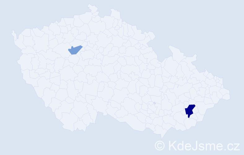 Příjmení: 'Ignatěv', počet výskytů 4 v celé ČR