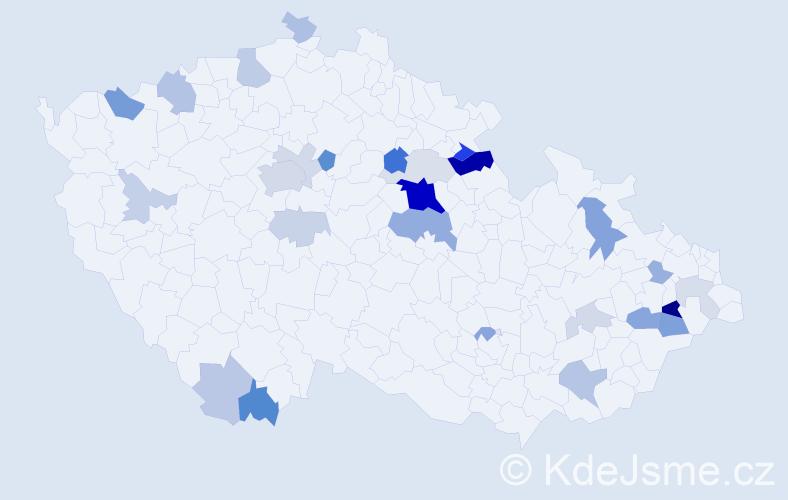 Příjmení: 'Halda', počet výskytů 70 v celé ČR