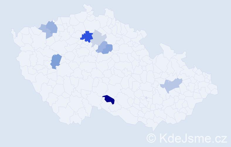 Příjmení: 'Černáš', počet výskytů 16 v celé ČR