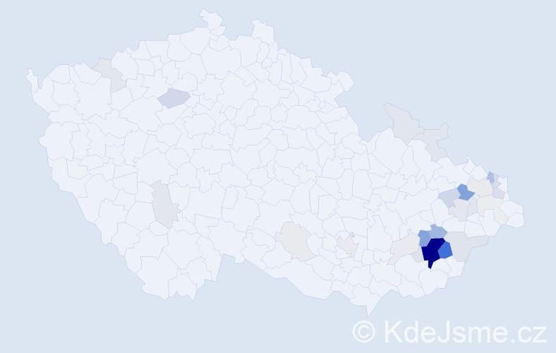 Příjmení: 'Julina', počet výskytů 110 v celé ČR