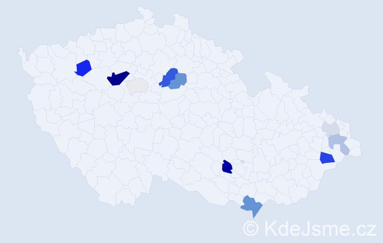 Příjmení: 'Ďurčanská', počet výskytů 21 v celé ČR