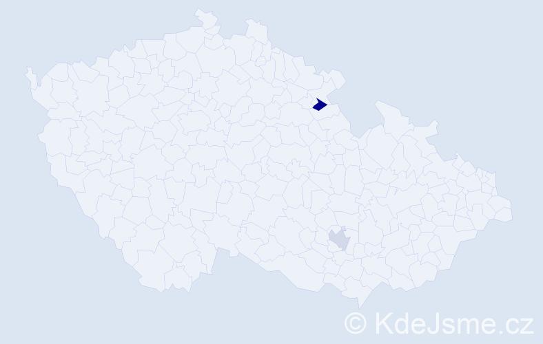 Příjmení: 'Jeitner', počet výskytů 2 v celé ČR