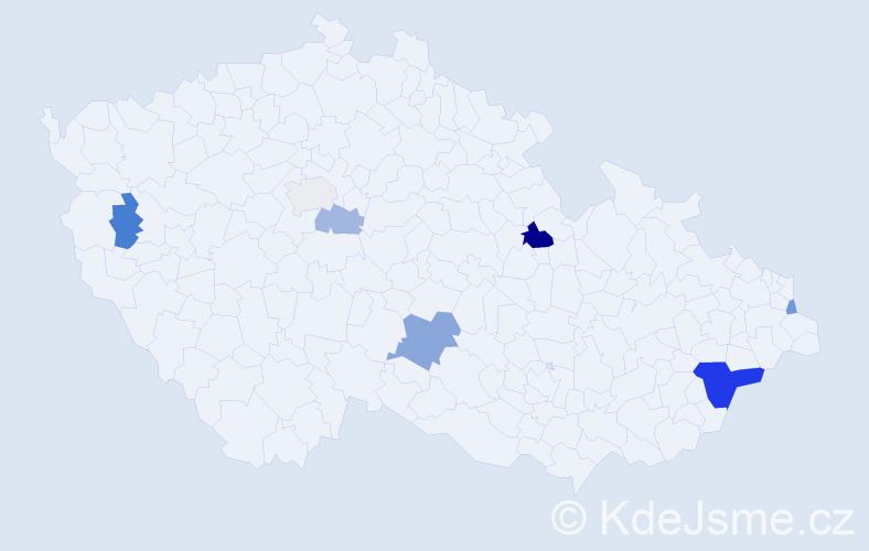 Příjmení: 'Bělovová', počet výskytů 14 v celé ČR