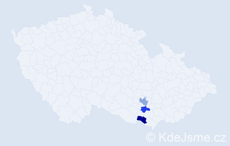 Příjmení: 'Bunďálek', počet výskytů 13 v celé ČR