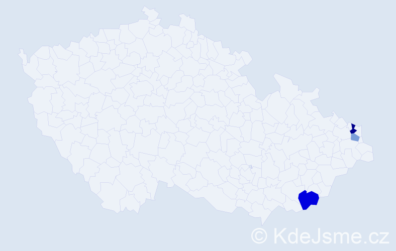 Příjmení: 'Jarko', počet výskytů 5 v celé ČR