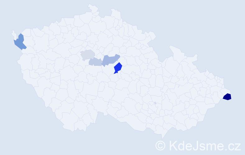 Příjmení: 'Göllner', počet výskytů 19 v celé ČR