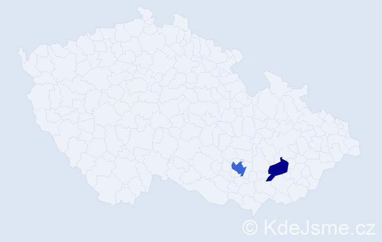 Příjmení: 'Bardůnek', počet výskytů 3 v celé ČR