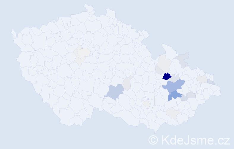 Příjmení: 'Bahounková', počet výskytů 101 v celé ČR