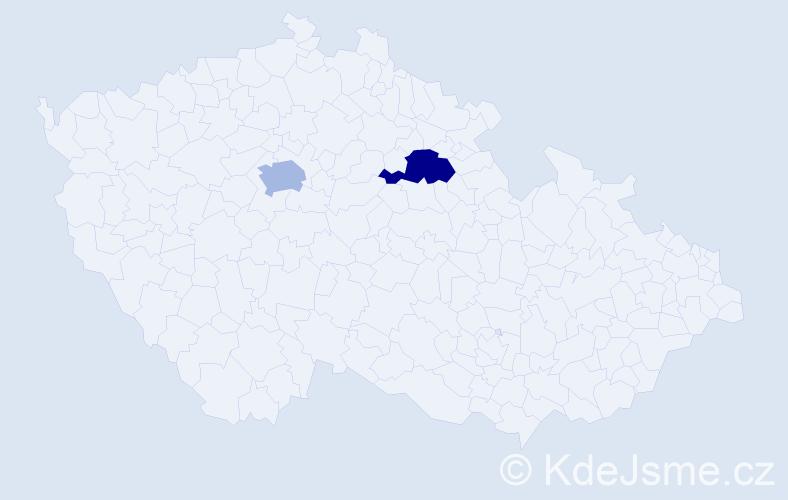Příjmení: 'Cezemský', počet výskytů 2 v celé ČR