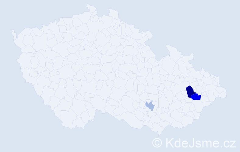 Příjmení: 'Čáranová', počet výskytů 3 v celé ČR