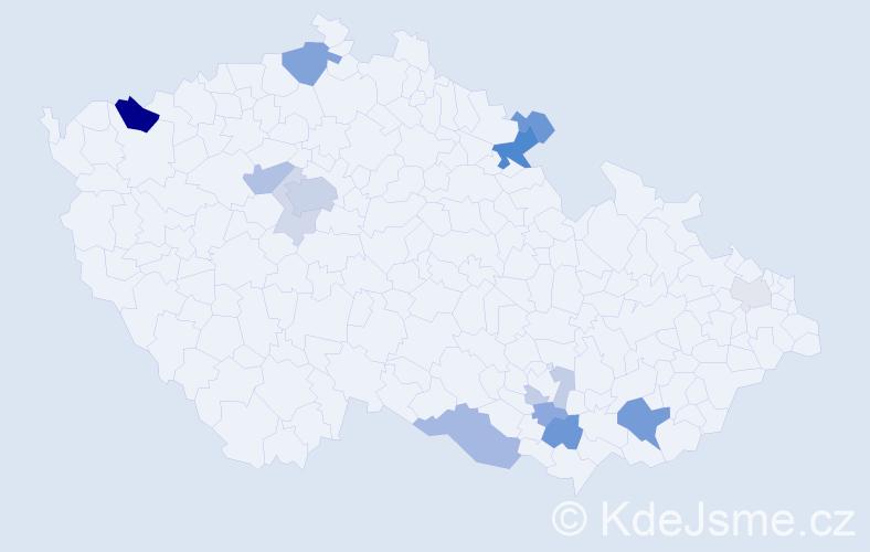 Příjmení: 'Hlušek', počet výskytů 37 v celé ČR