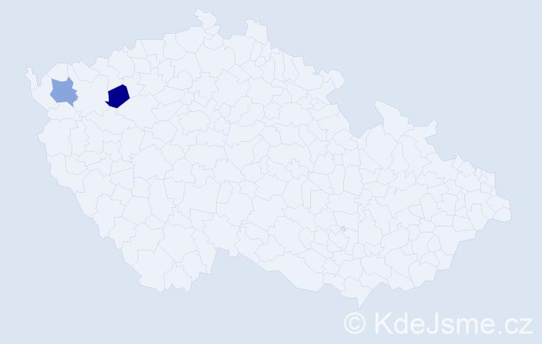 """Příjmení: '""""Delgado Stavárek""""', počet výskytů 2 v celé ČR"""