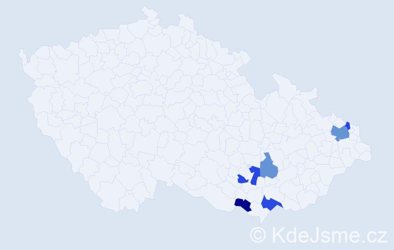 Příjmení: 'Kubinský', počet výskytů 11 v celé ČR