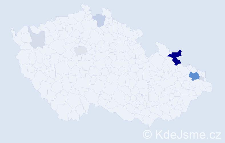 Příjmení: 'Čimbura', počet výskytů 36 v celé ČR