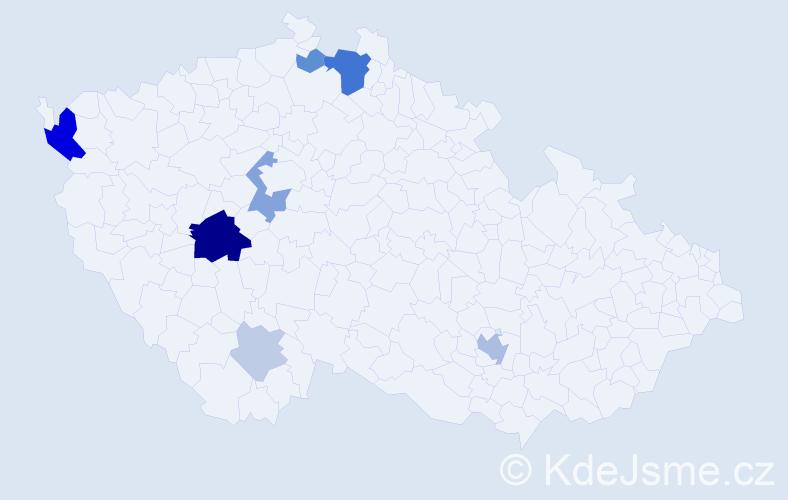 Příjmení: 'Hyspecká', počet výskytů 22 v celé ČR