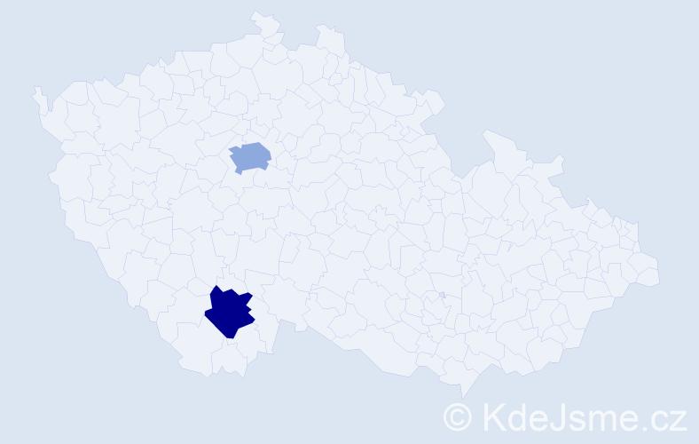 Příjmení: 'Javný', počet výskytů 9 v celé ČR