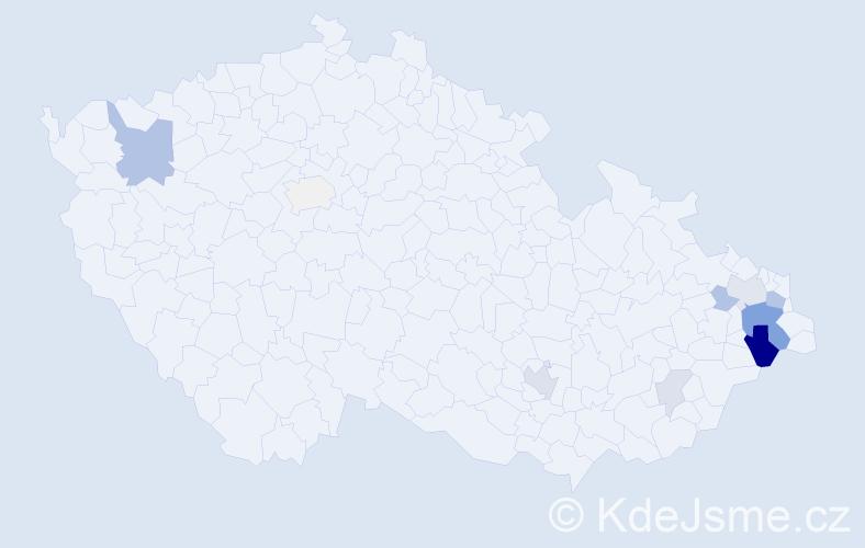 Příjmení: 'Gistingerová', počet výskytů 28 v celé ČR