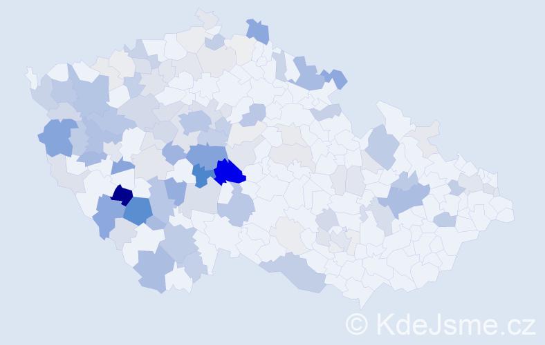 Příjmení: 'Dub', počet výskytů 477 v celé ČR