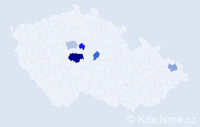 Příjmení: 'Hrejzková', počet výskytů 15 v celé ČR