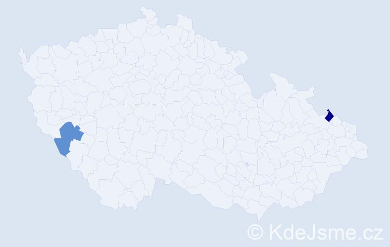 Příjmení: 'Jamnitzký', počet výskytů 2 v celé ČR