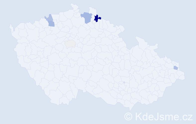 Příjmení: 'Hořavka', počet výskytů 13 v celé ČR