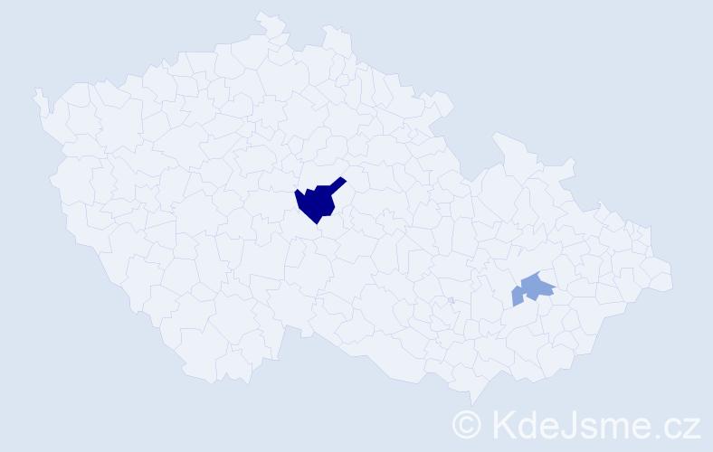 Příjmení: 'Čábelická', počet výskytů 4 v celé ČR