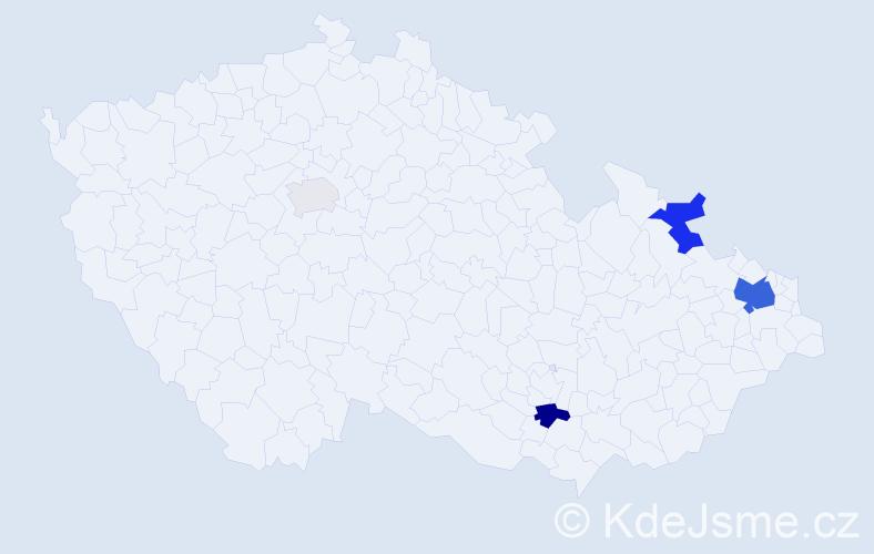 Příjmení: 'Česlík', počet výskytů 13 v celé ČR