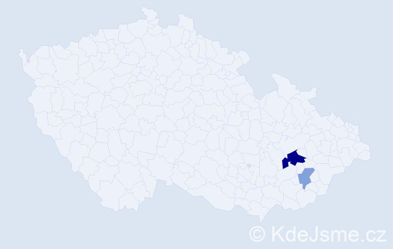 Příjmení: 'Iž', počet výskytů 9 v celé ČR