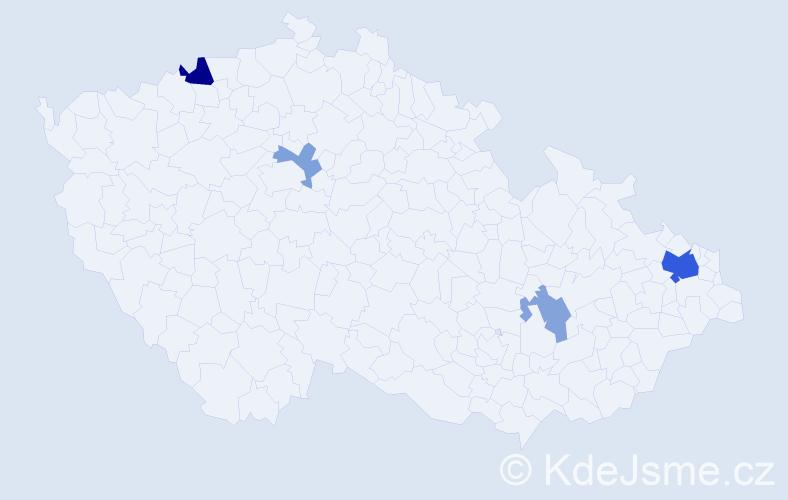Příjmení: 'Kalai', počet výskytů 10 v celé ČR