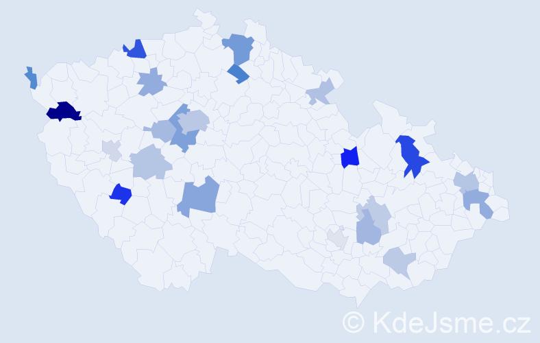 Příjmení: 'Baker', počet výskytů 46 v celé ČR