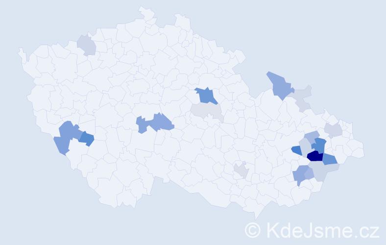 Příjmení: 'Čáňová', počet výskytů 81 v celé ČR