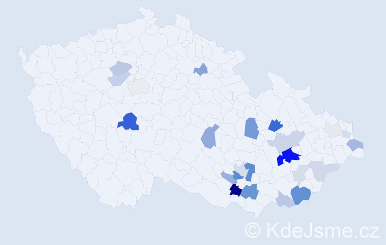 Příjmení: 'Malenda', počet výskytů 59 v celé ČR