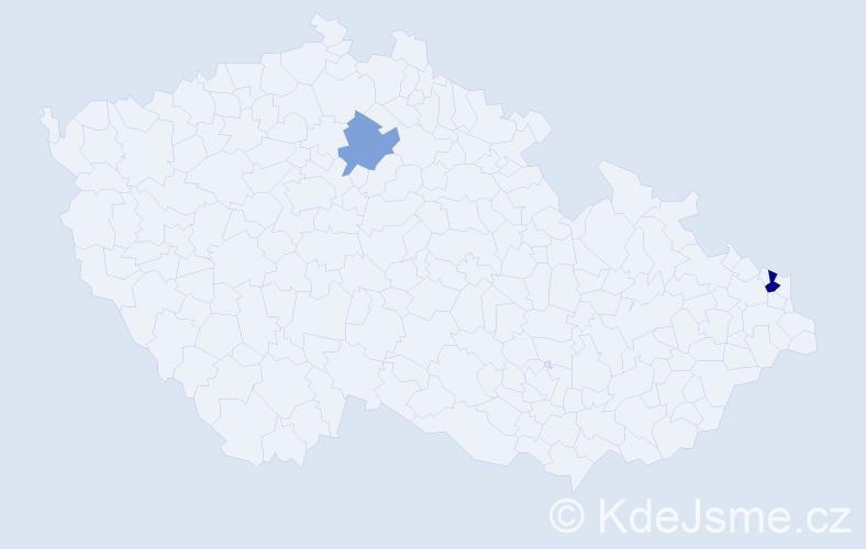 Příjmení: 'Hrčová', počet výskytů 3 v celé ČR