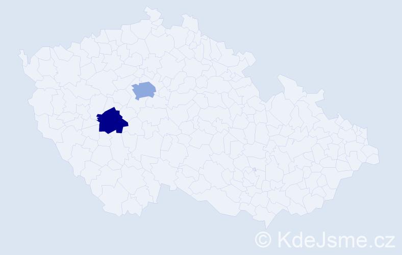 Příjmení: 'Adameková', počet výskytů 3 v celé ČR