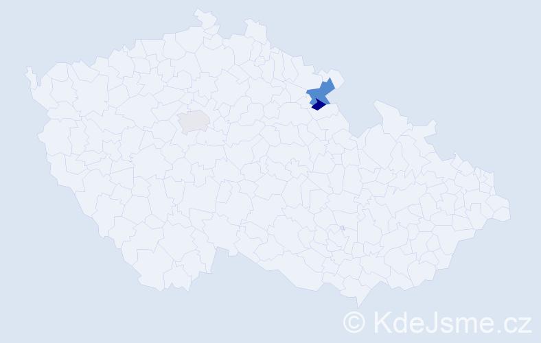 """Příjmení: '""""Bartoň-Dobenín""""', počet výskytů 4 v celé ČR"""